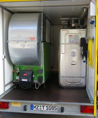 Leistungsstarkes Warmluftgebläse als mobile Station mit einer maximalen Leistung bis 200 kW.